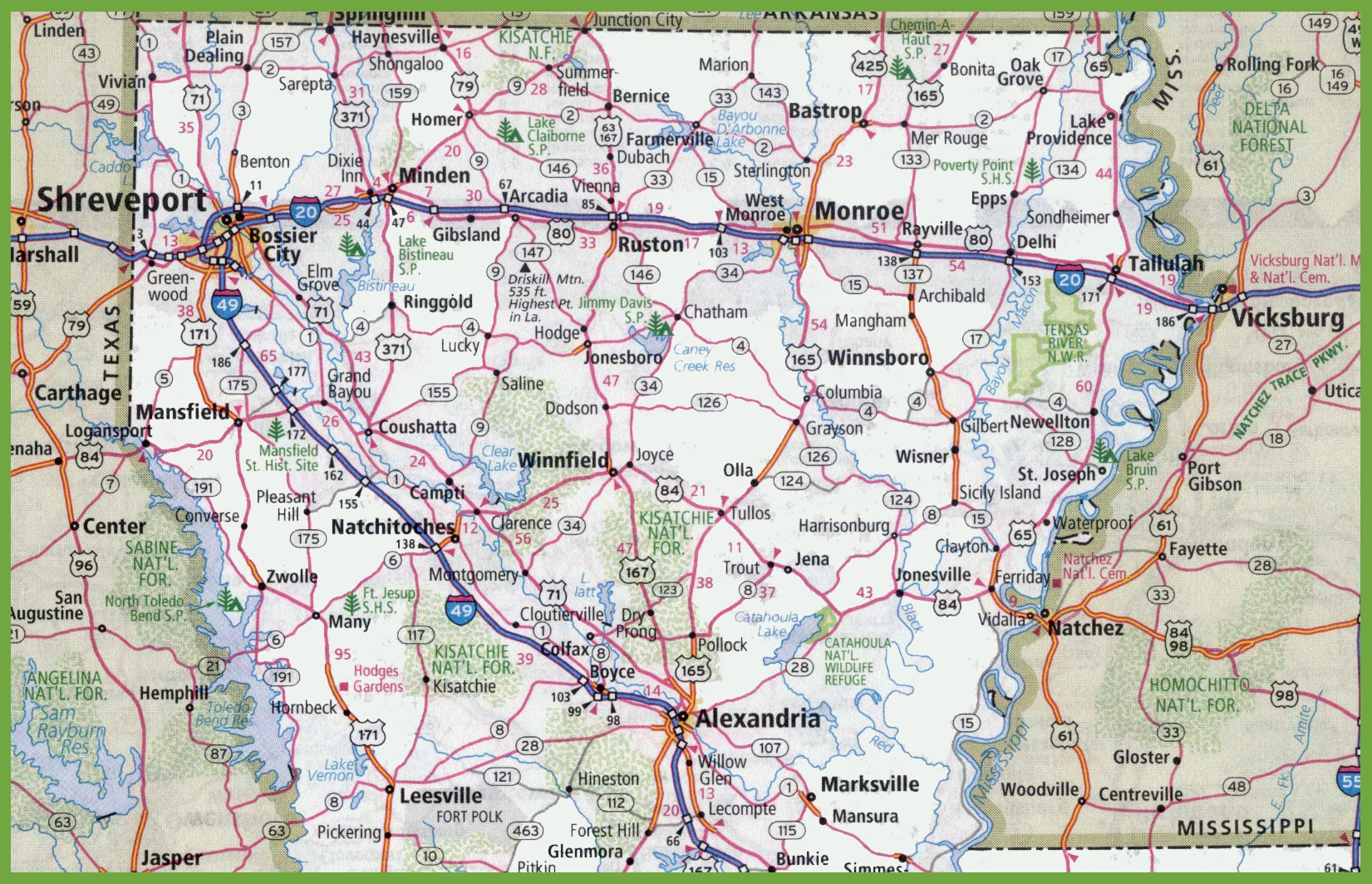Map Of Northern Louisiana - Lousiana map