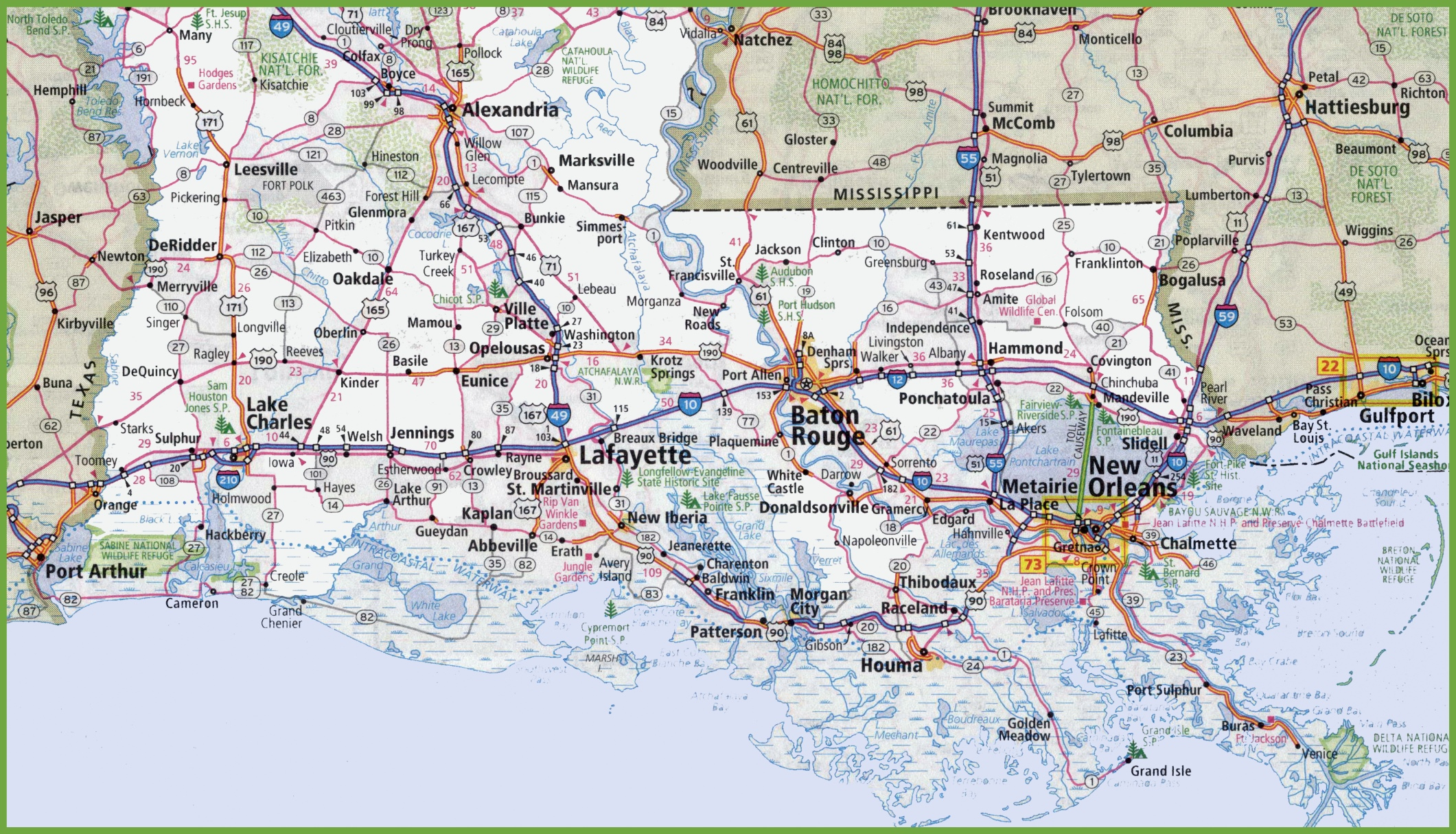 photo relating to Printable Map of Louisiana called Map of Southern Louisiana