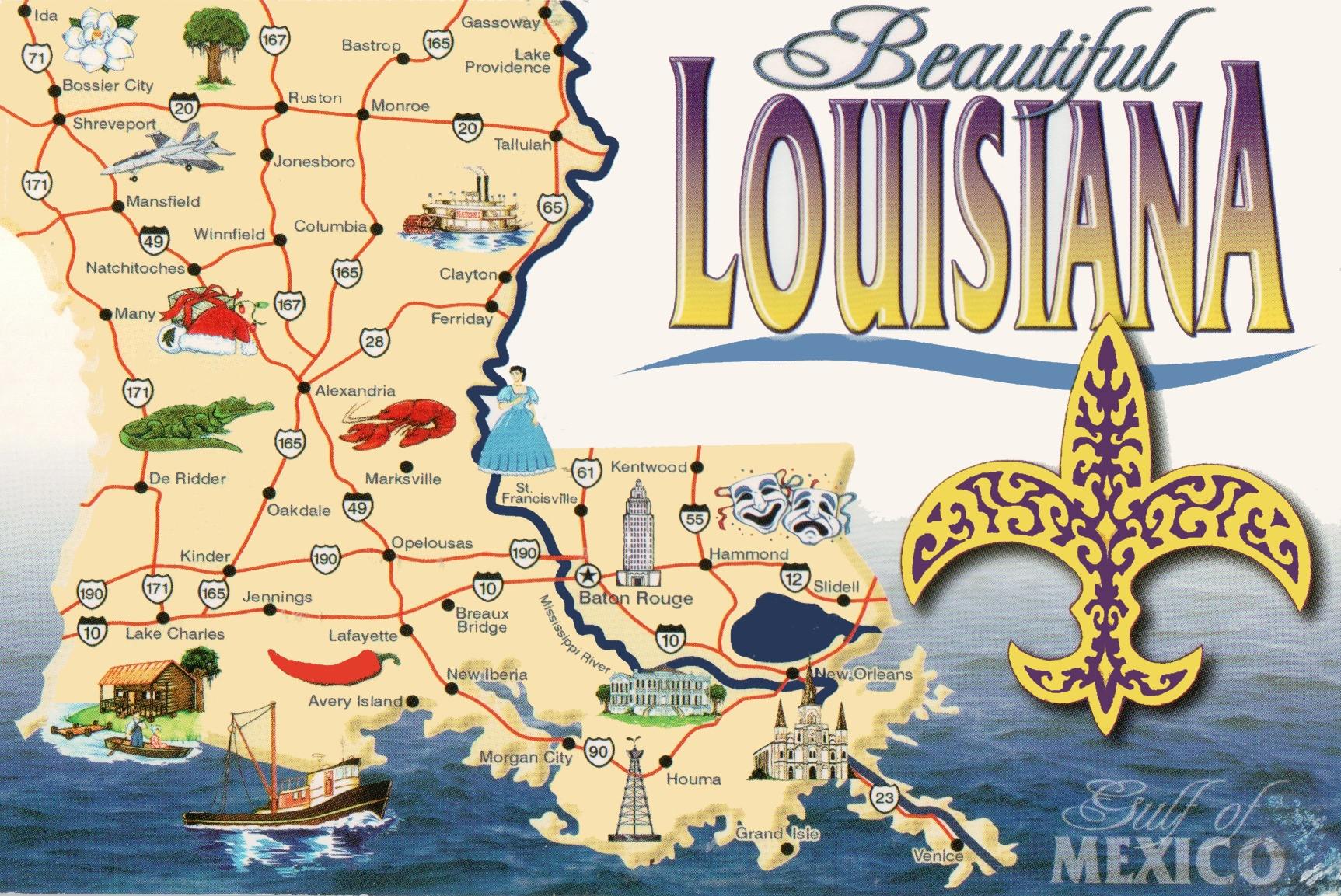 Pictorial travel map of Louisiana