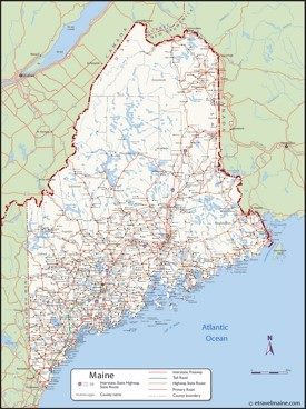 Large detailed map of Maine with cities and towns
