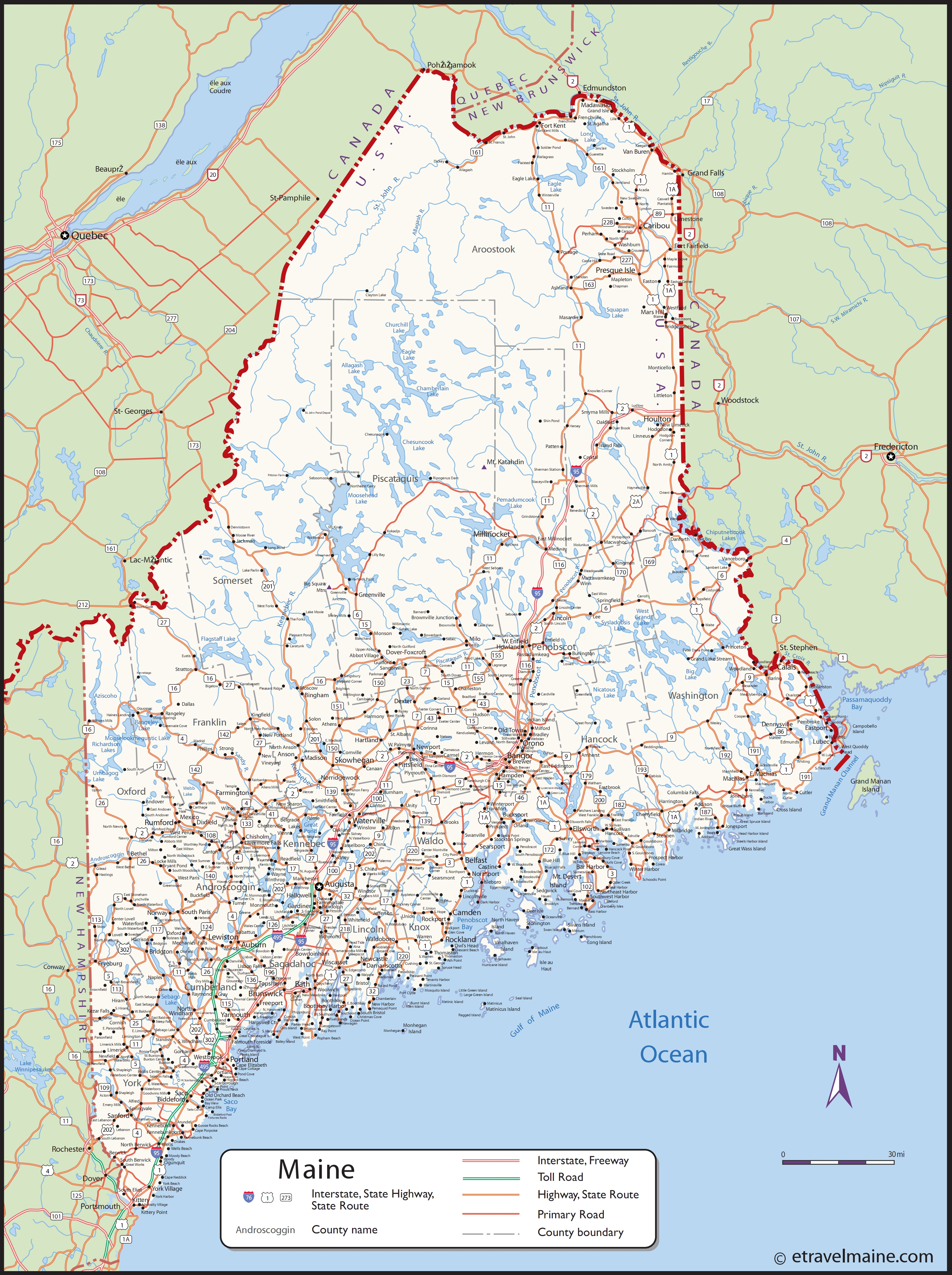 Large Detailed Map Of Maine With Cities And Towns - Maine in usa map