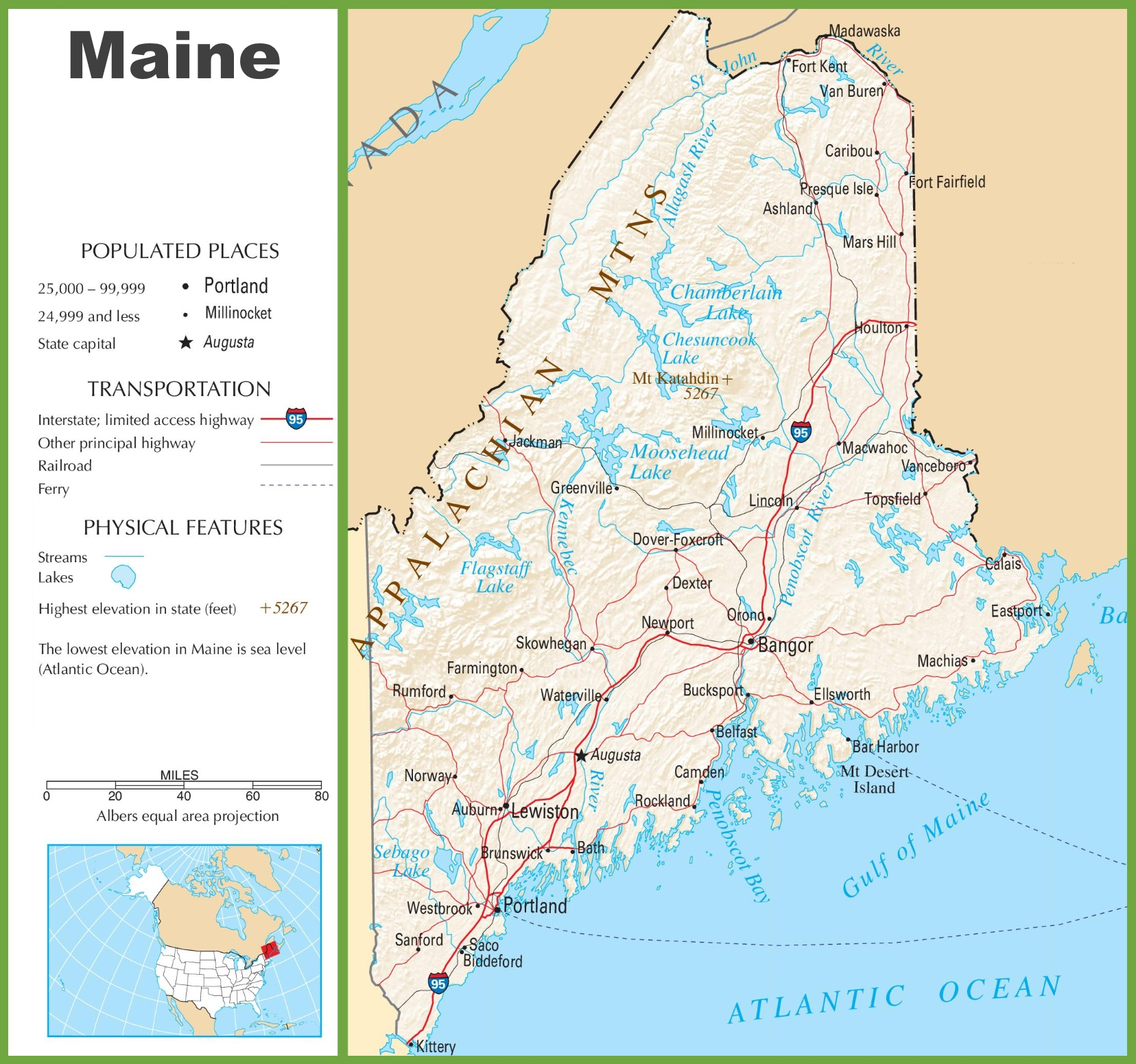 Maine Highway Map - Map of maine usa