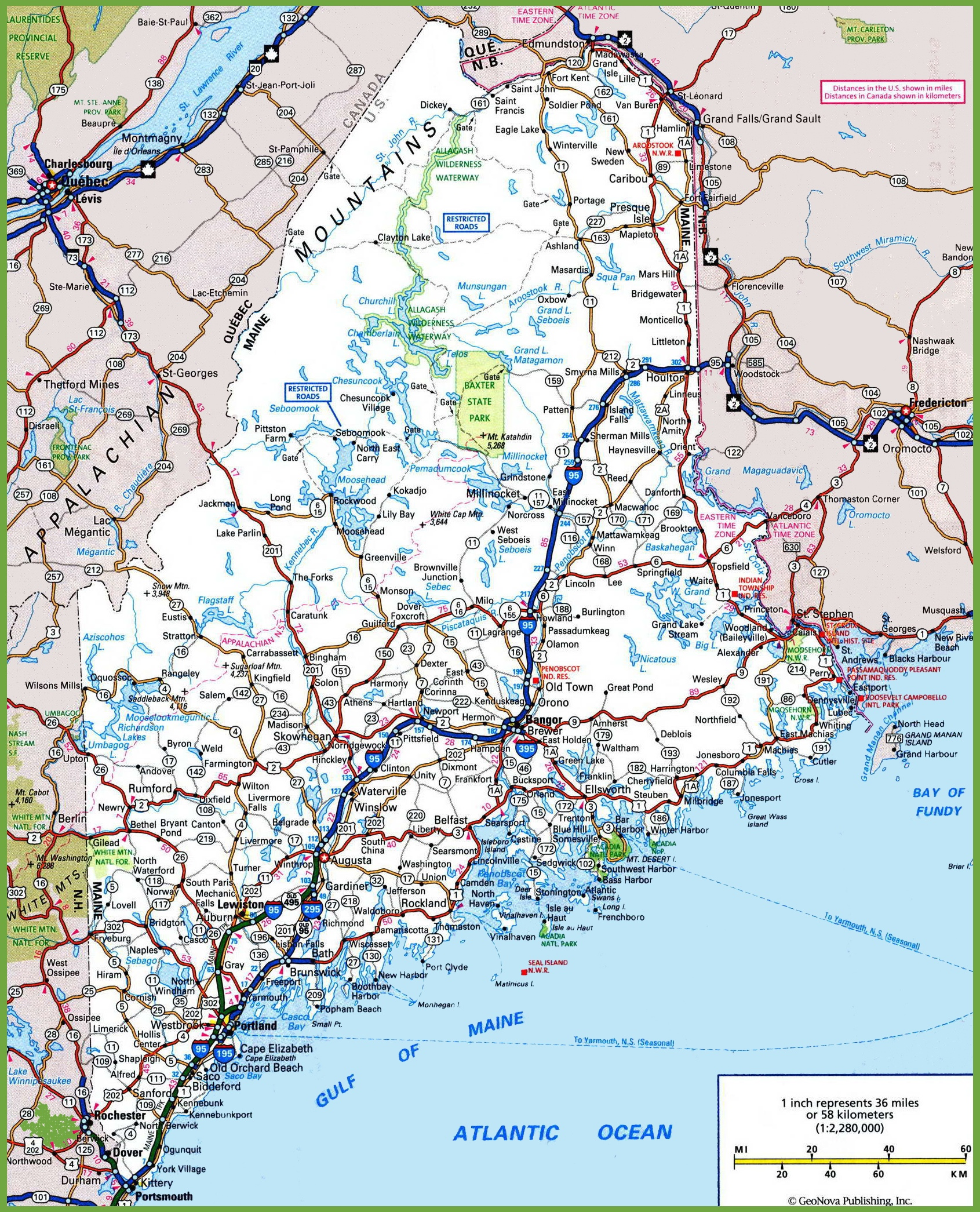 Maine Road Map - Map of maine usa