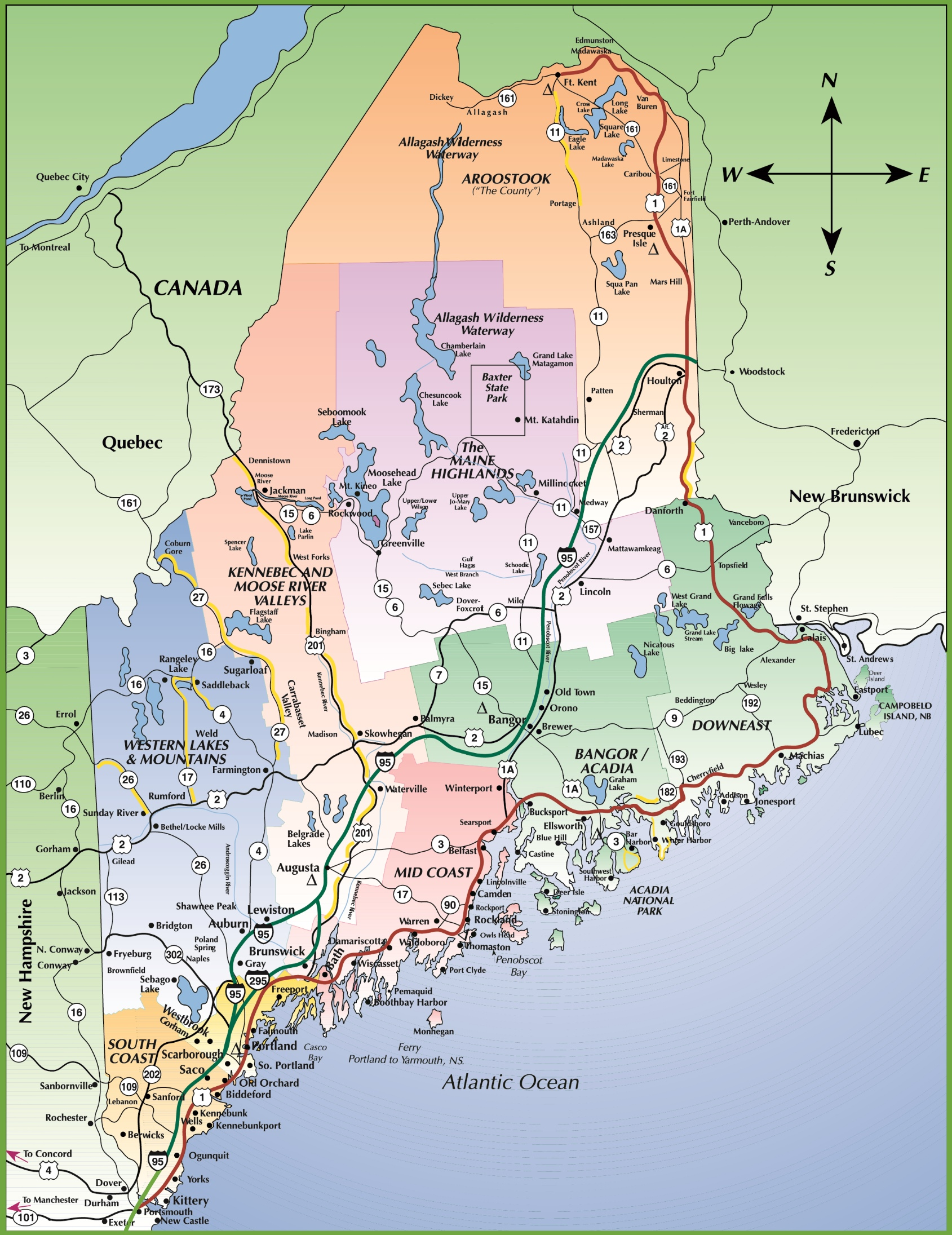 Map Of Maine Coast - Maine in usa map