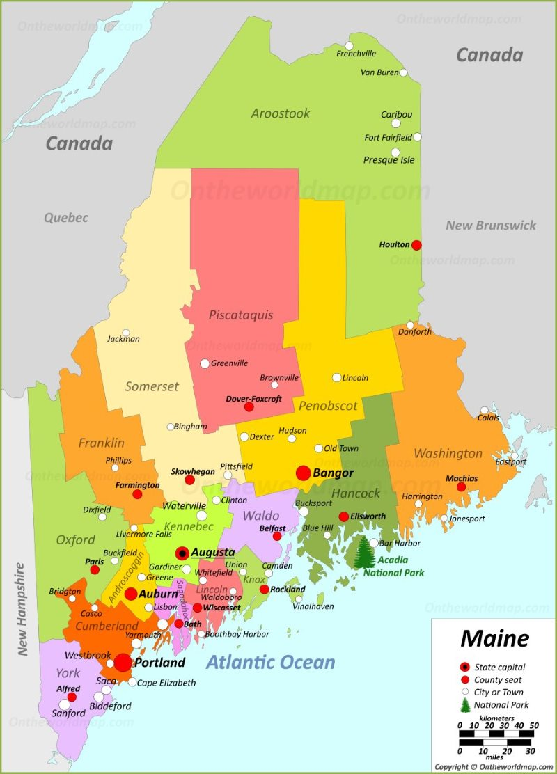 Map Of Me Maine State Maps | USA | Maps of Maine (ME)