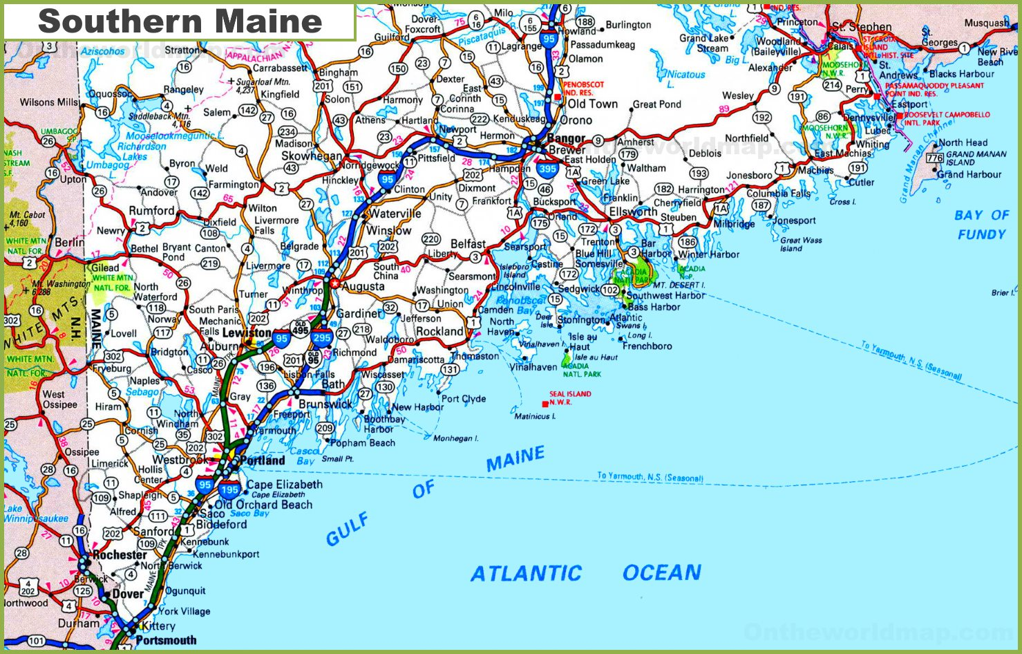Map Of Southern Maine Map of Southern Maine