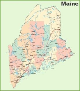 Road map of Maine with cities