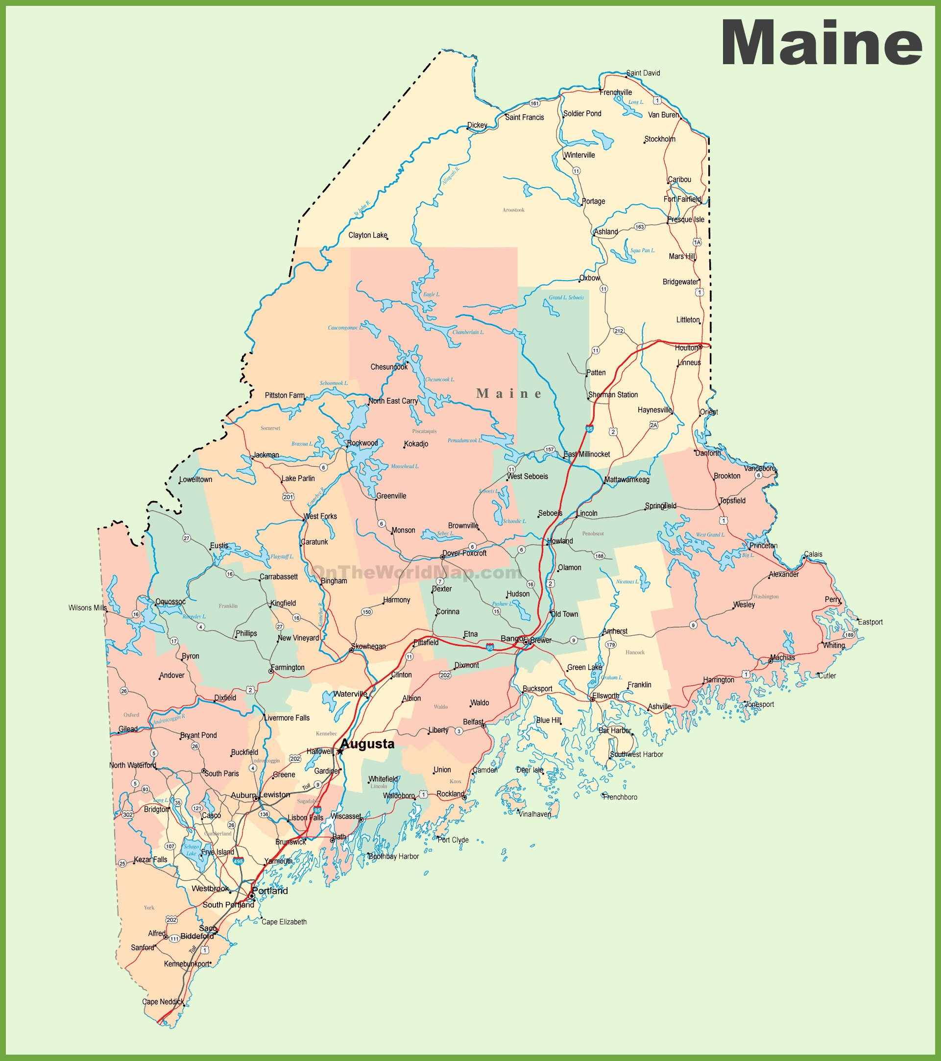 State Map Of Maine.Road Map Of Maine With Cities