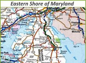 Map of Eastern Shore of Maryland