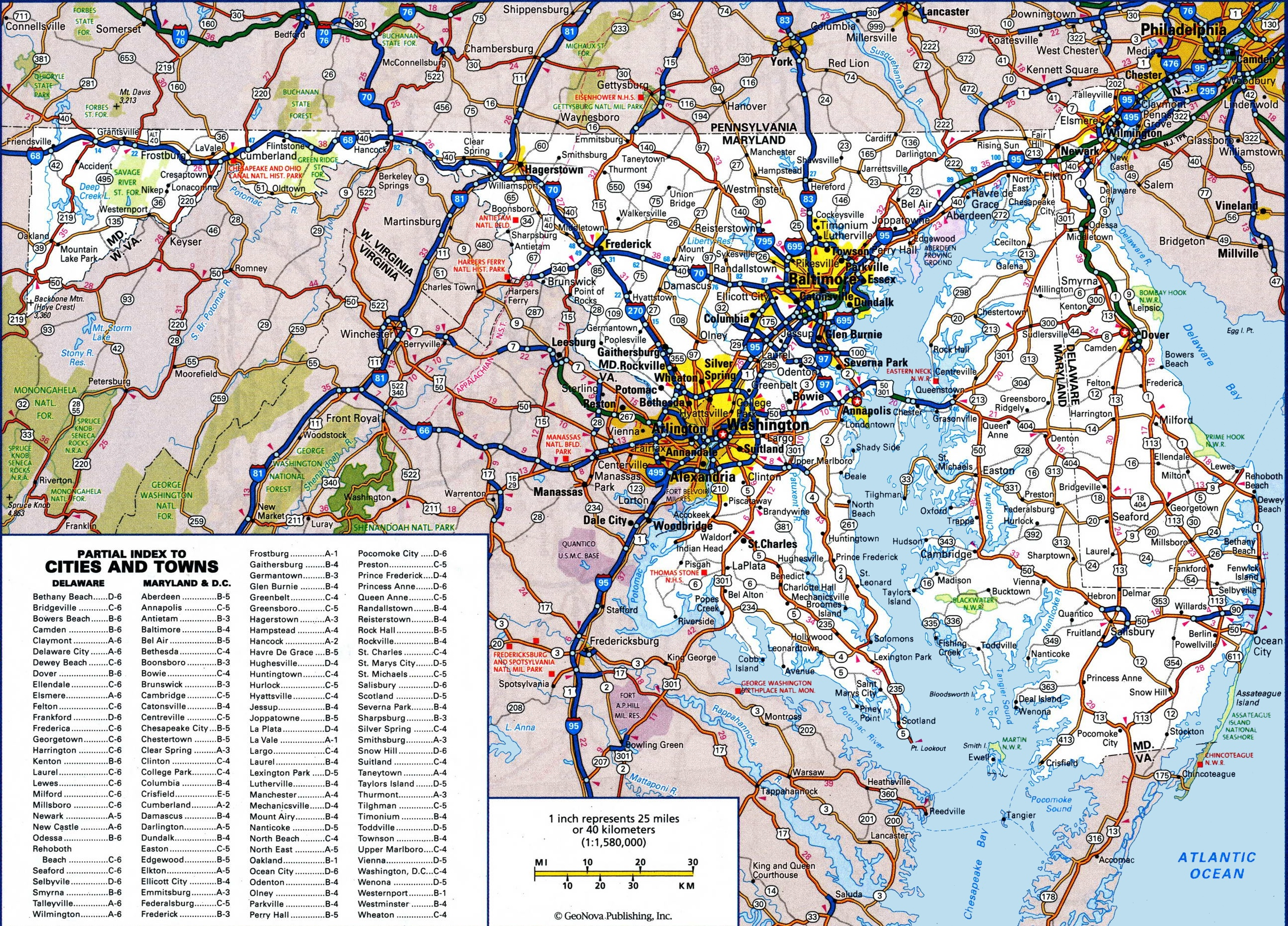 large detailed map of maryland with cities and towns