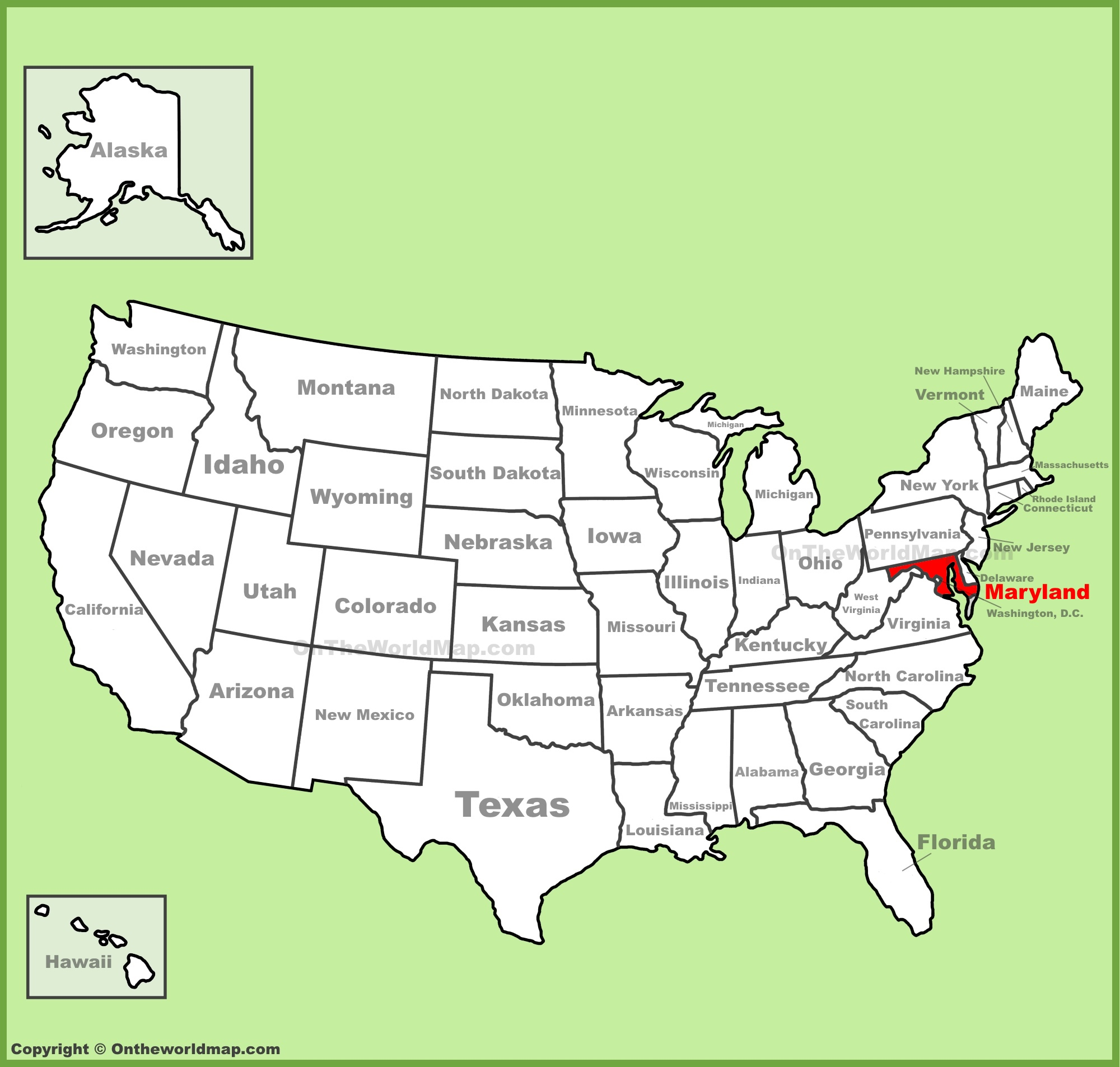 Maryland On A Map Maryland location on the U.S. Map