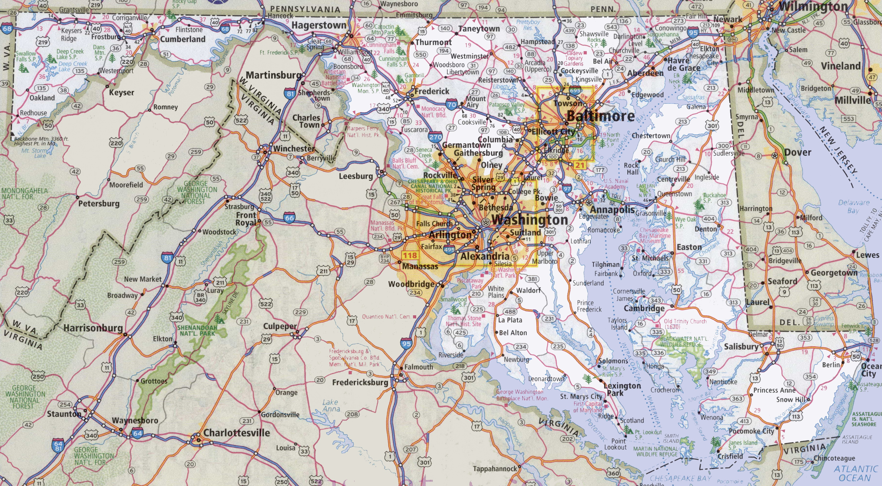 Road Map Of Maryland Maryland road map Road Map Of Maryland