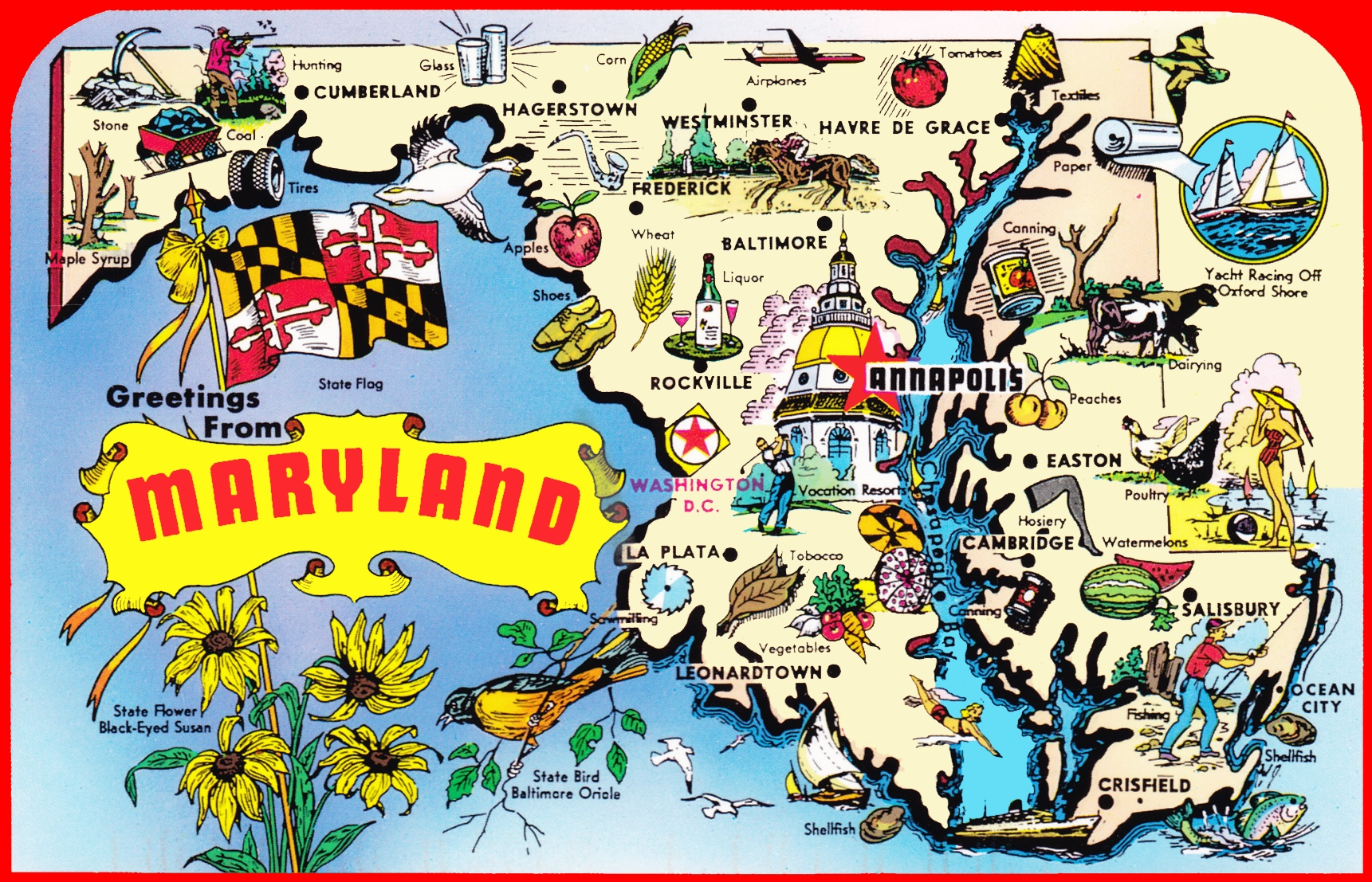 Pictorial Travel Map Of Maryland - Us map with points of interest
