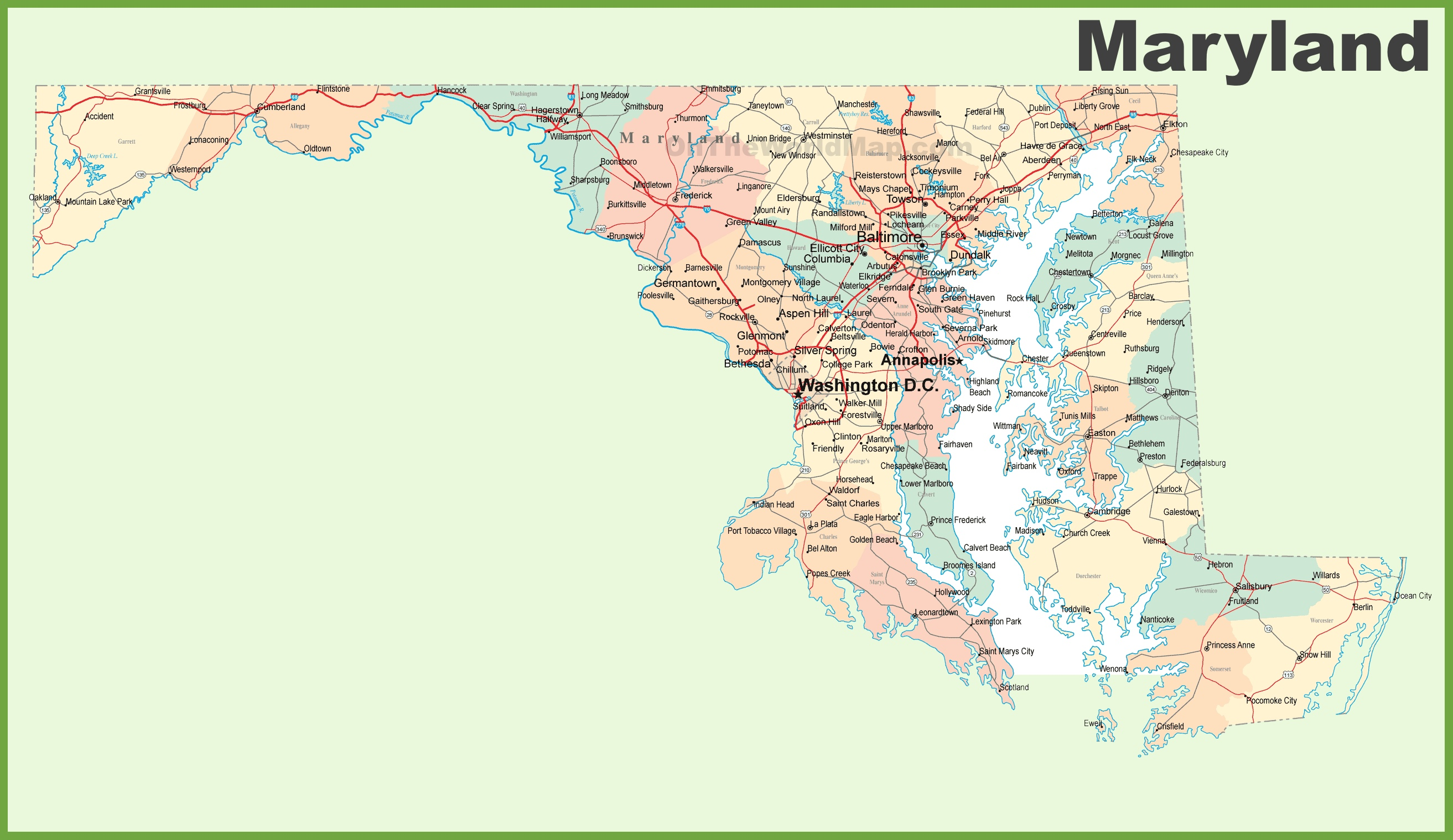 Large Detailed Administrative Map Of Maryland With Highways Roads - Us map with cities and freeways