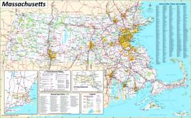 Large detailed map of Massachusetts with cities and towns