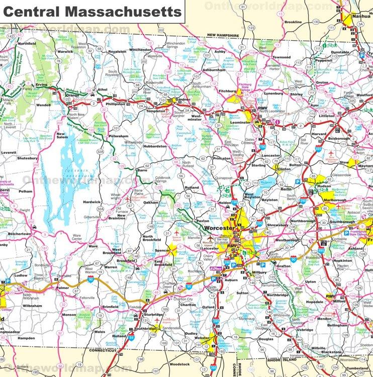 Map of Central Massachusetts