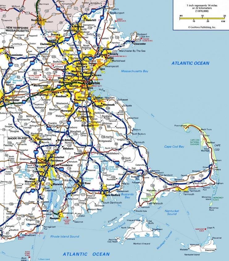Map of Eastern Massachusetts