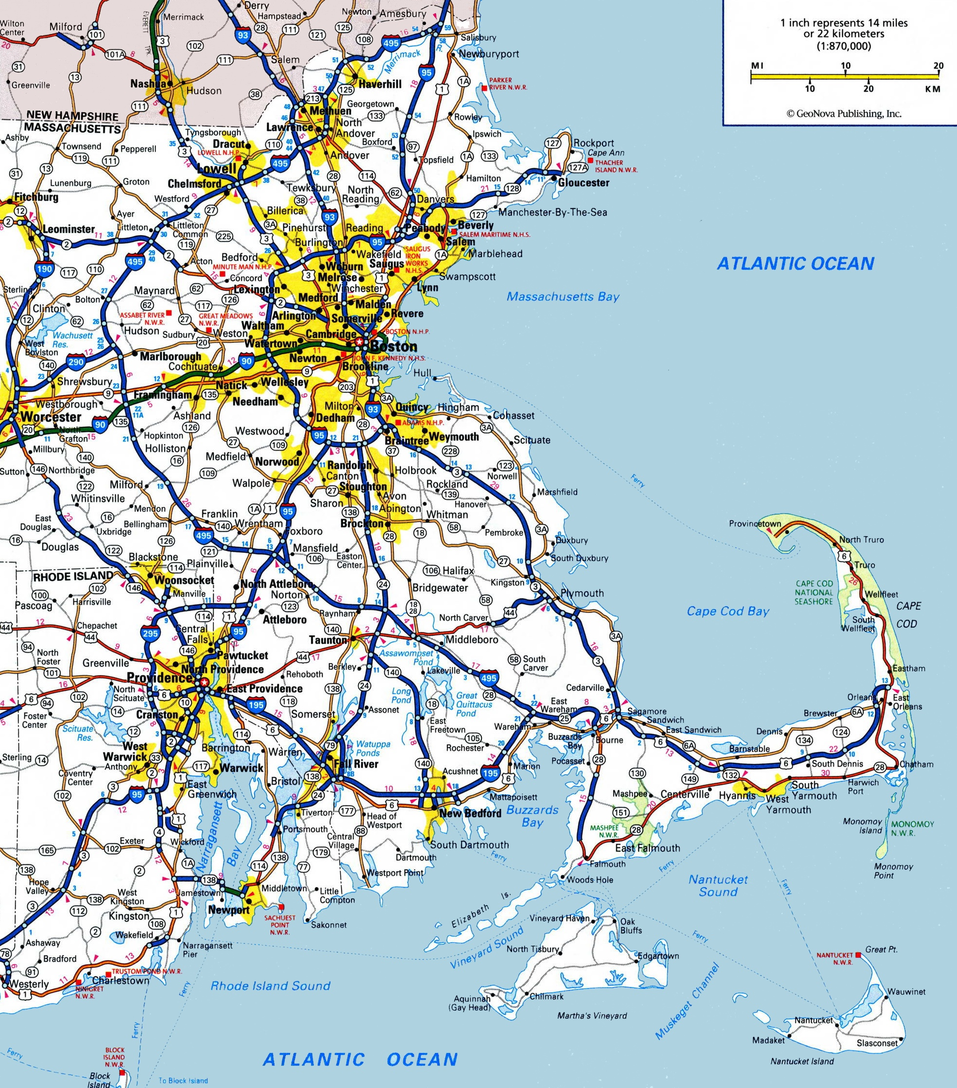 Map Of Eastern Massachusetts - Massachusetts map