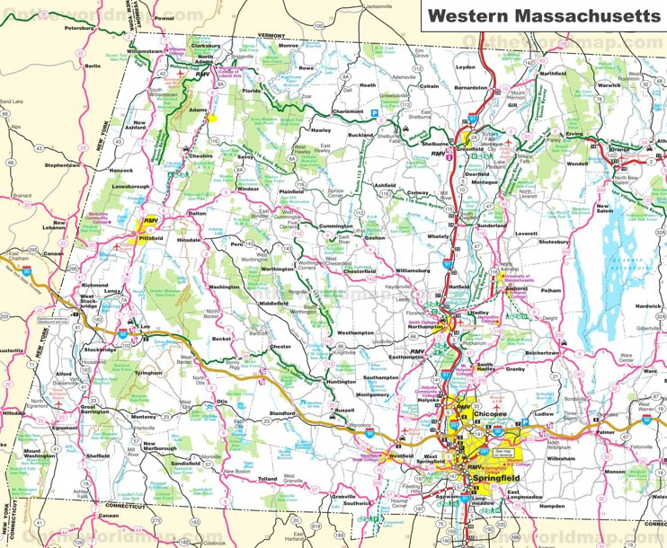 Map of Western Massachusetts