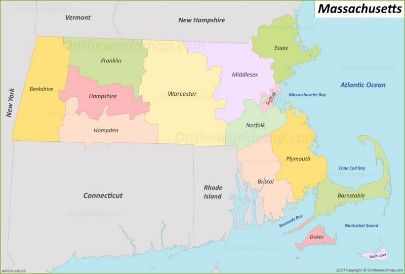 Massachusetts County Map