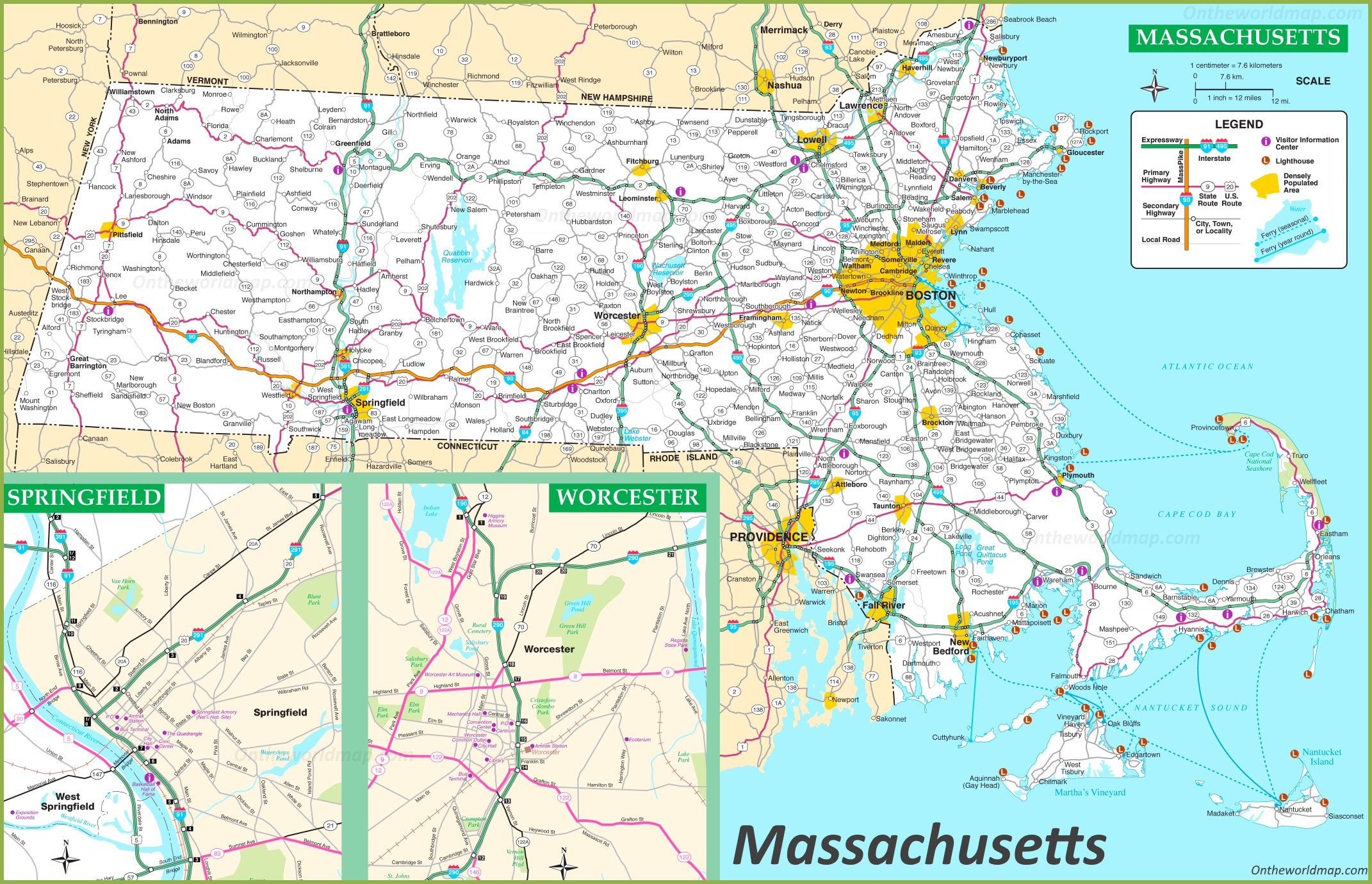 Massachusetts Road Map - Massachusetts map