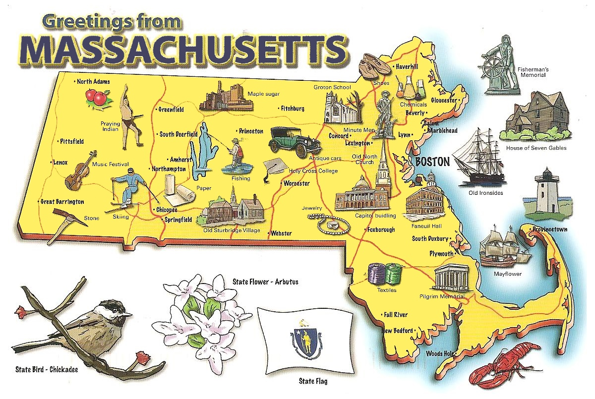 Pictorial Travel Map Of Massachusetts - Maps massachusetts