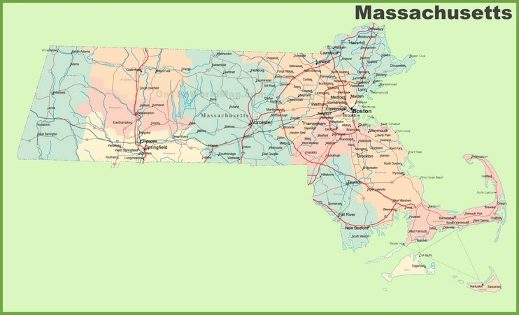 Road map of Massachusetts with cities