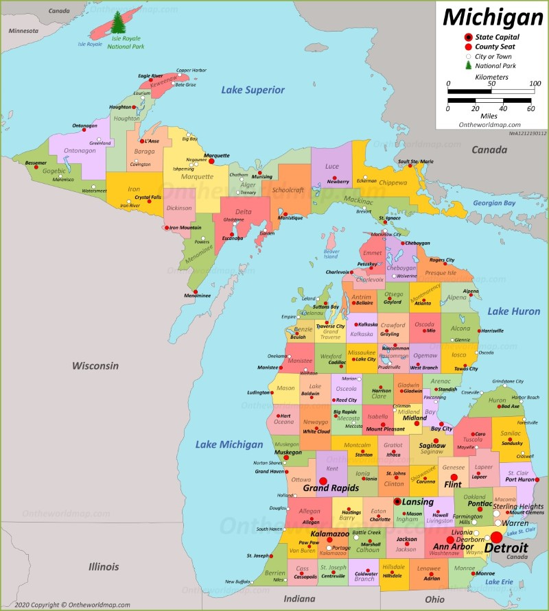 Michigan Map With Cities Michigan State Maps | USA | Maps of Michigan (MI)