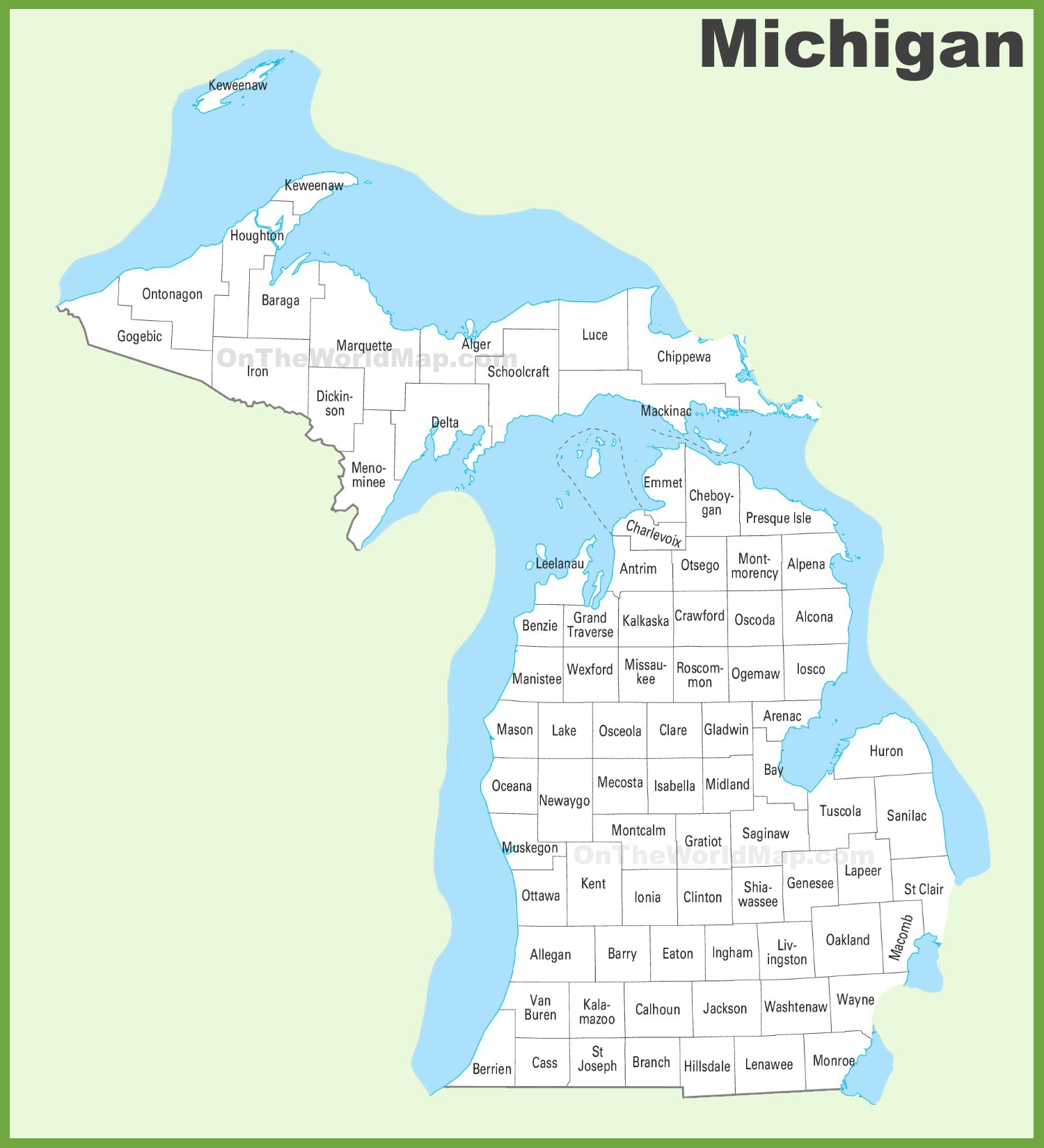 state of michigan map with counties Michigan County Map