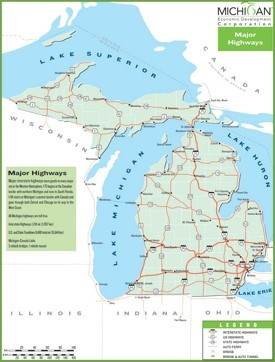 Michigan highway map