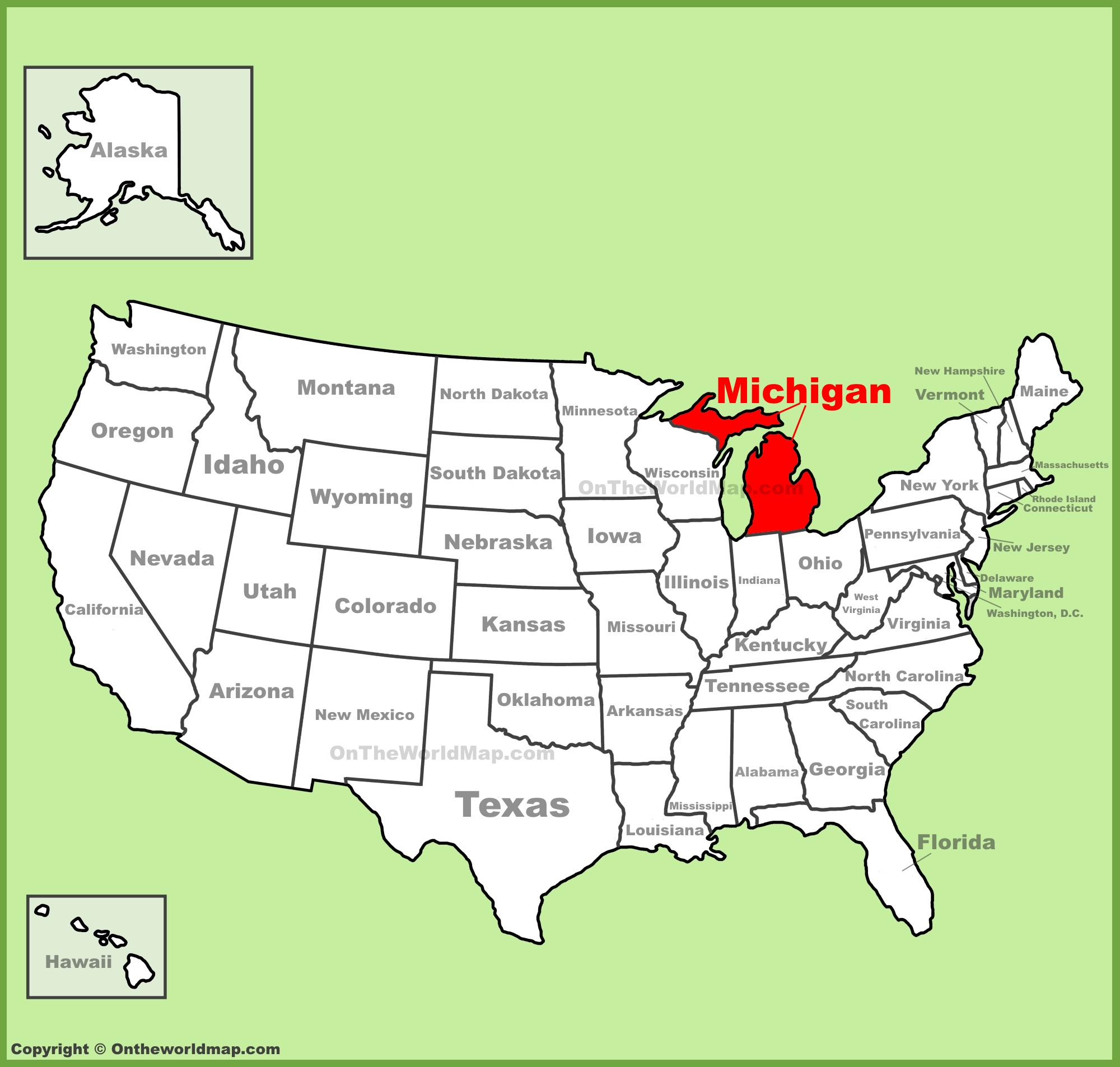 Michigan On Map Michigan location on the U.S. Map