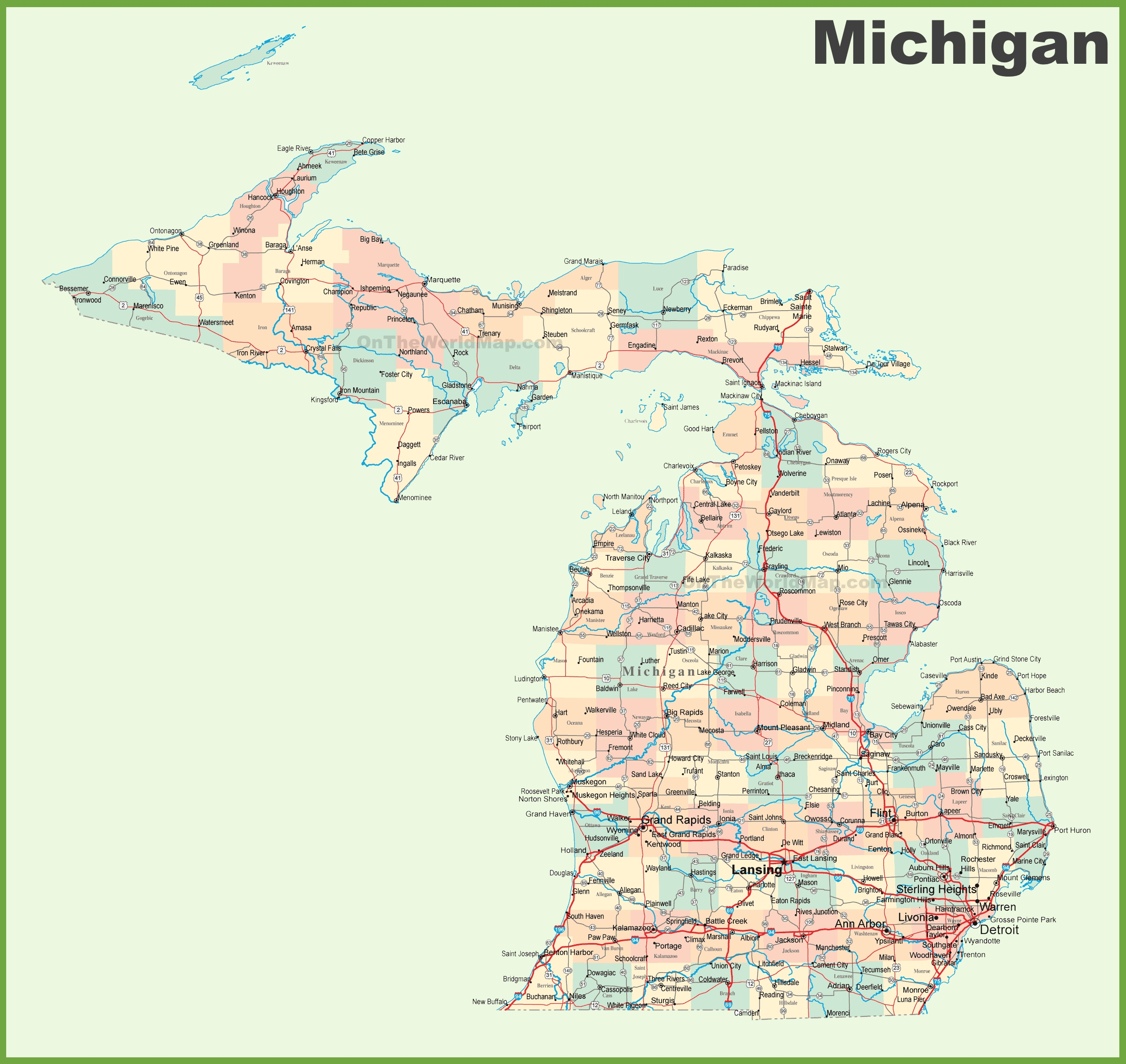 Road map of Michigan with cities