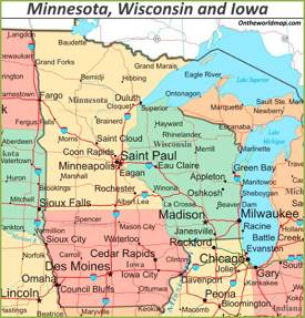 Map of Minnesota, Wisconsin and Iowa