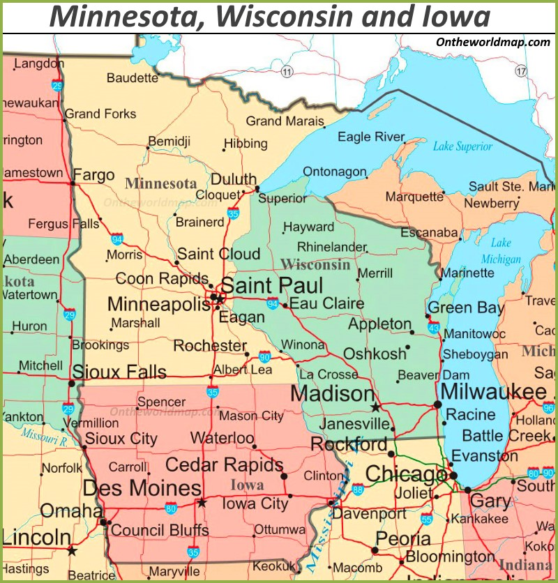 map of wisconsin and iowa Map Of Minnesota Wisconsin And Iowa map of wisconsin and iowa