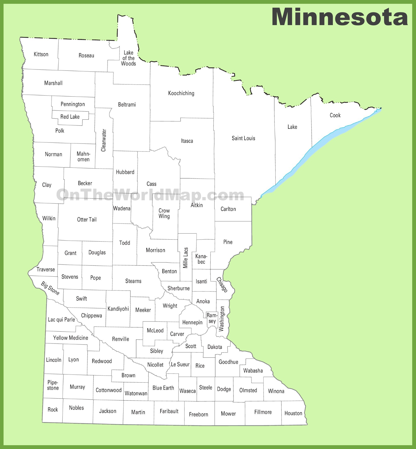Unusual image pertaining to minnesota county map printable