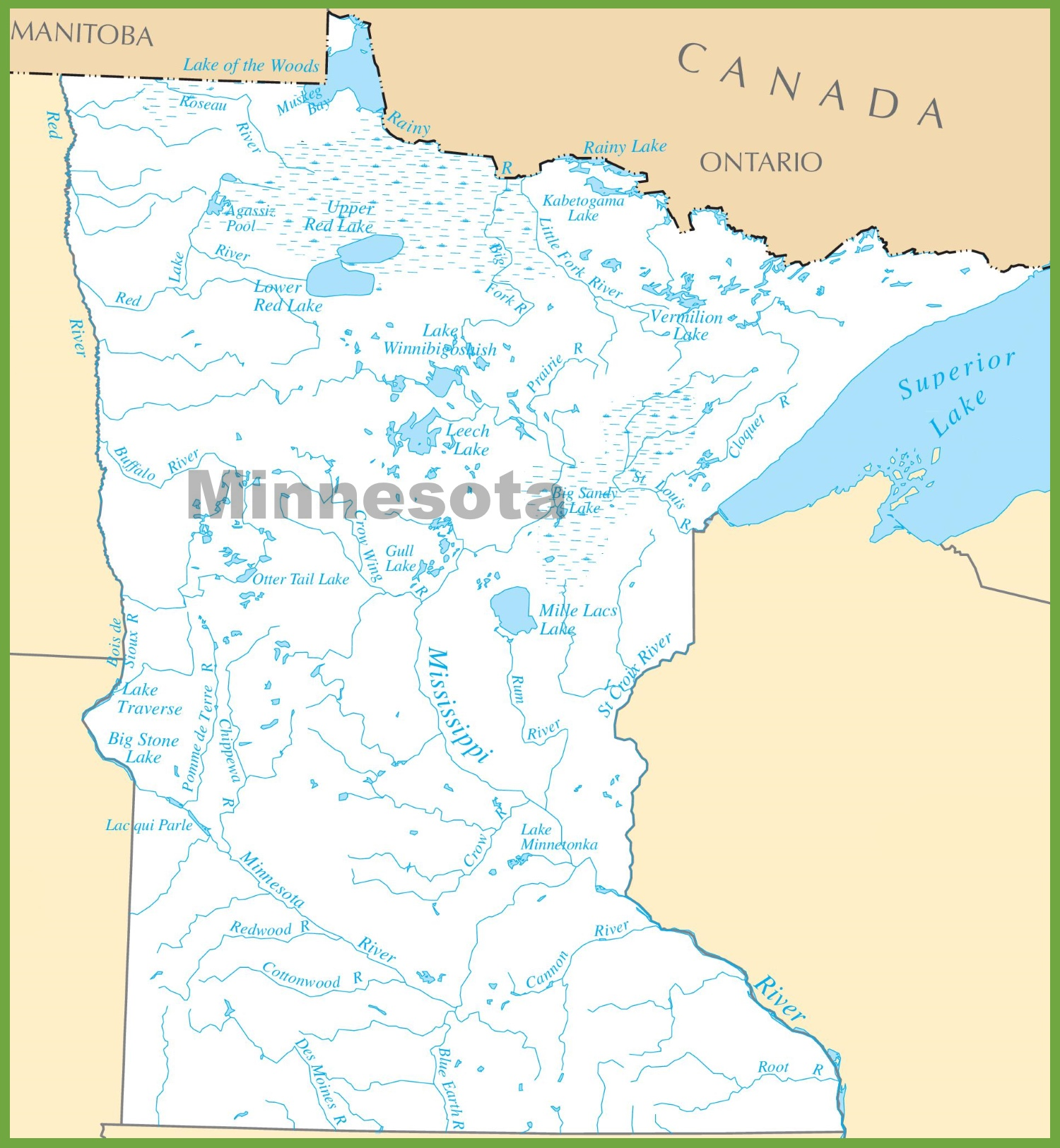 Minnesota Lakes Map - State of minnesota map