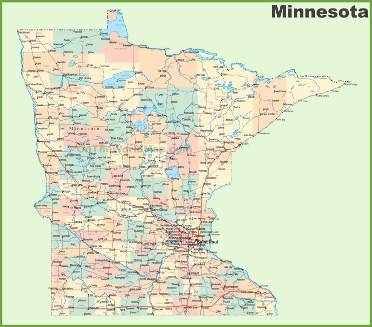 Road Map Of Minnesota With Cities