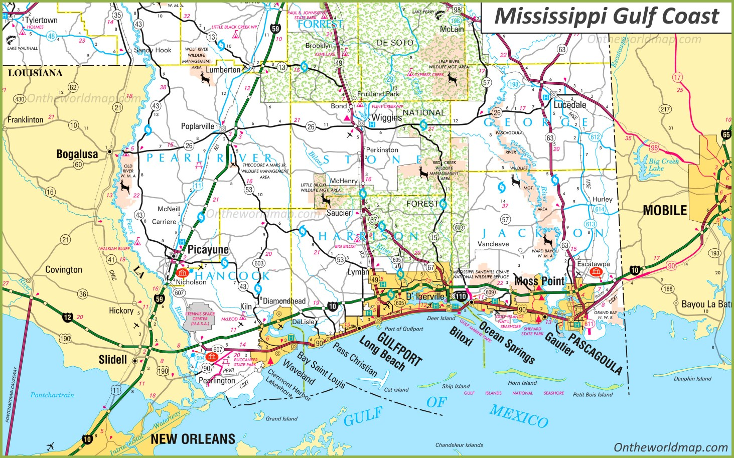 map of mississippi gulf coast cities Map Of Mississippi Gulf Coast map of mississippi gulf coast cities
