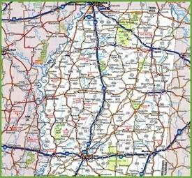 Map of Northern Mississippi