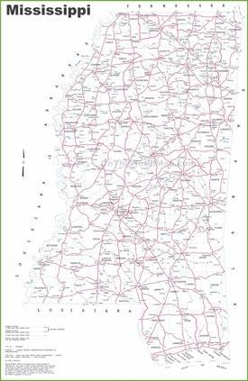 Mississippi road map