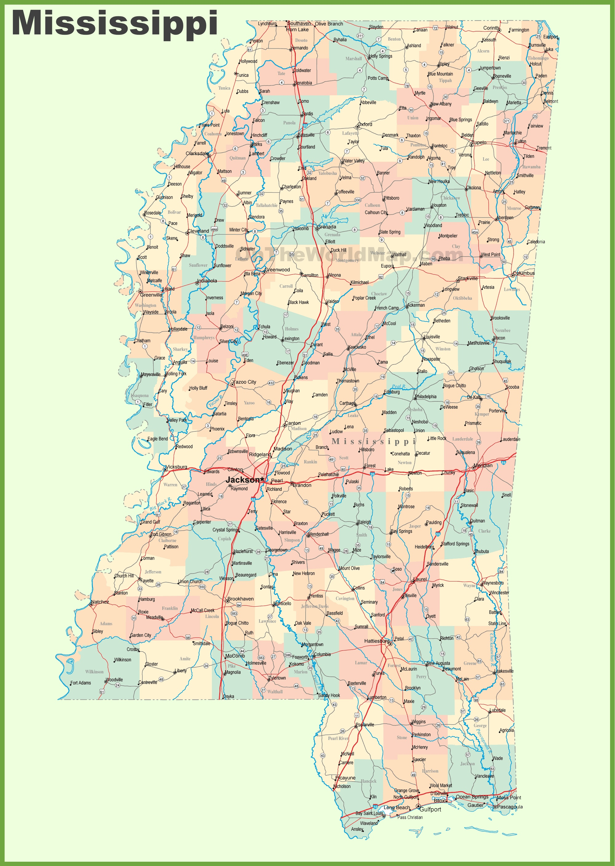 Map Of Mississippi Cities Road map of Mississippi with cities