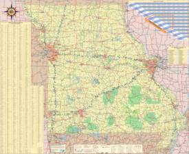 Large detailed map of Missouri with cities and towns