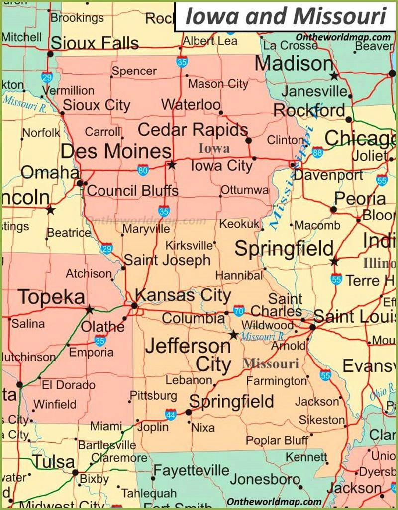 iowa and missouri map Map Of Iowa And Missouri iowa and missouri map