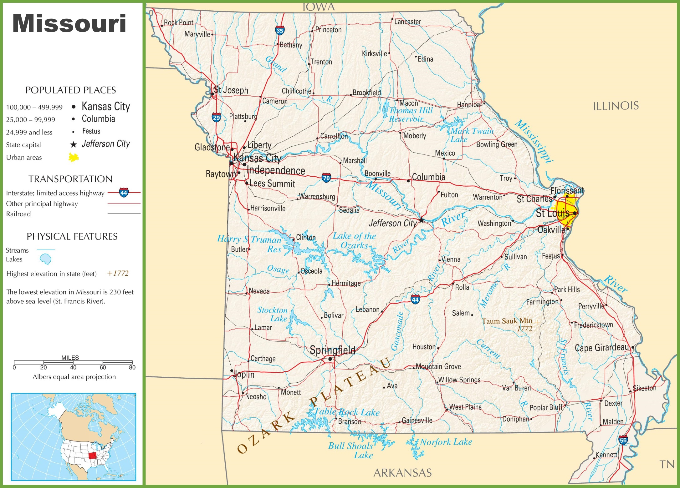 Missouri Highway Map - Missouri state map usa