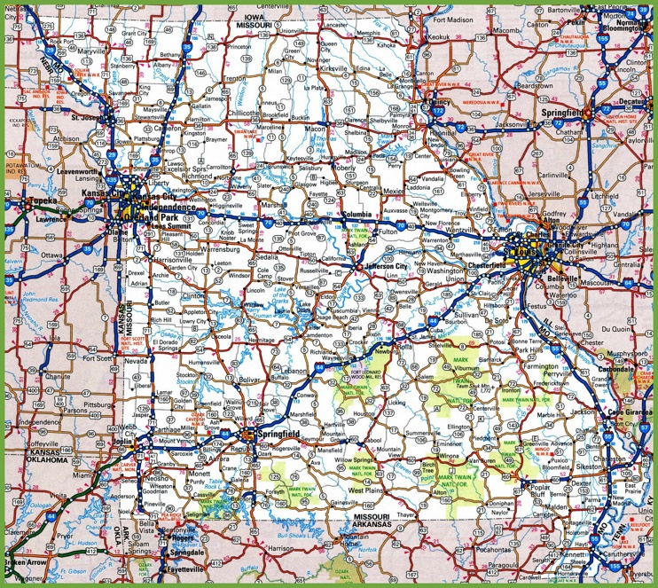 Detailed Route 66 Map >> Missouri road map