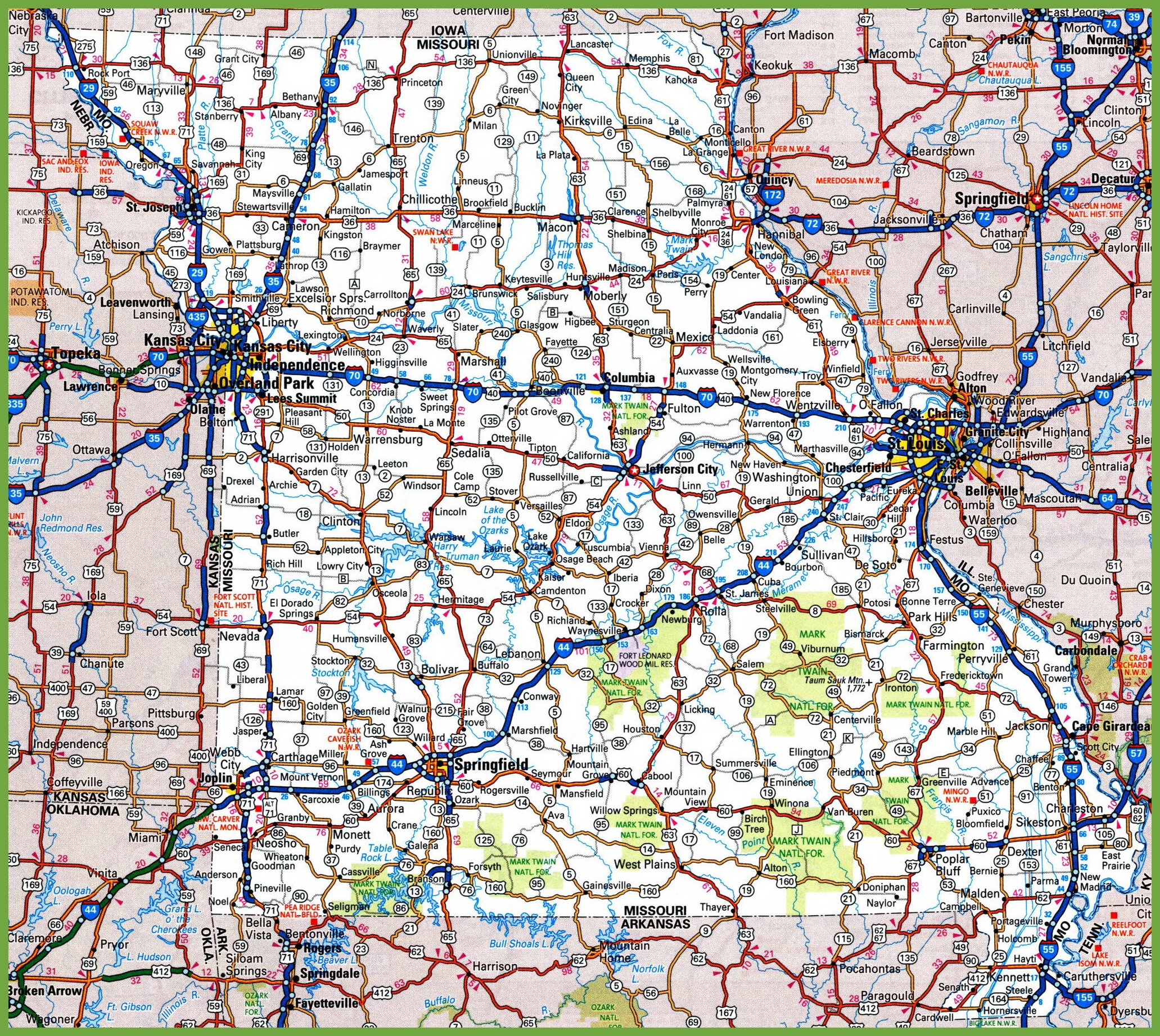 Missouri Road Map - State of missouri map