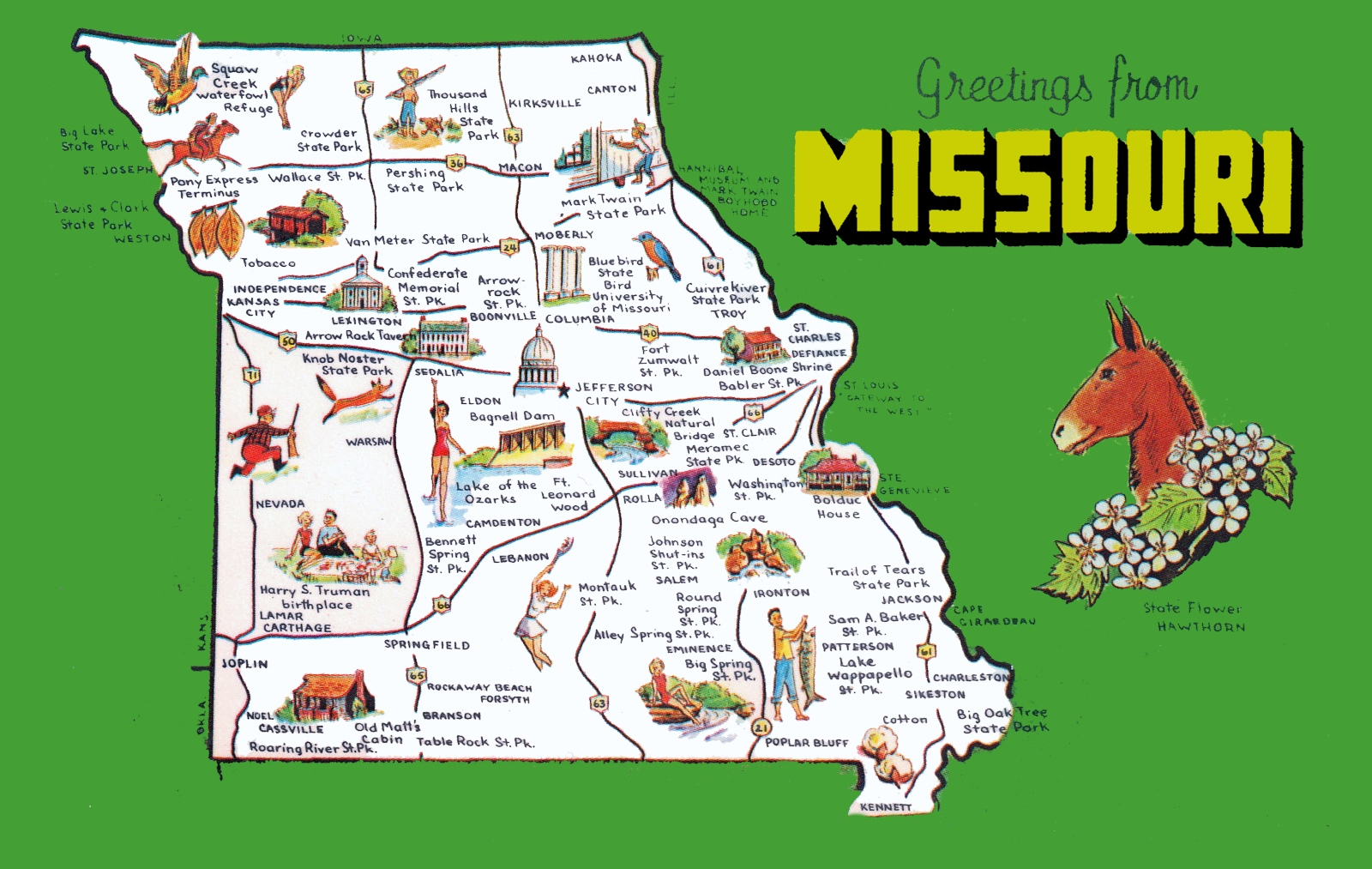 Pictorial Travel Map Of Missouri