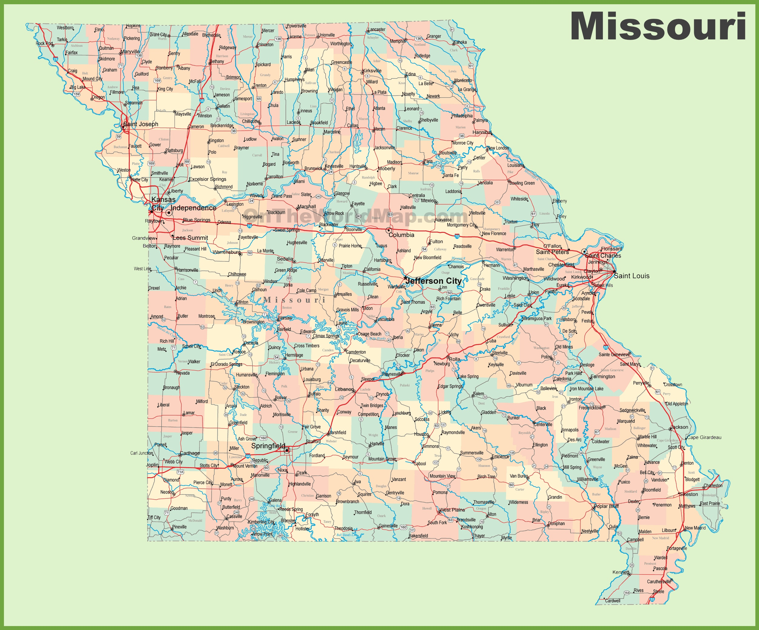 road map of missouri with cities -