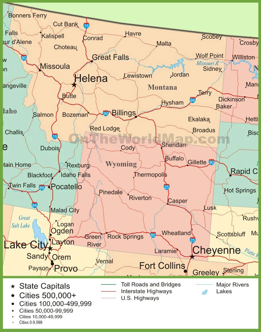 Map Of Montana And Wyoming - Wy state map