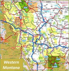Map of Western Montana